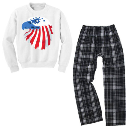 United States Eagle Youth Sweatshirt Pajama Set Designed By Chiks