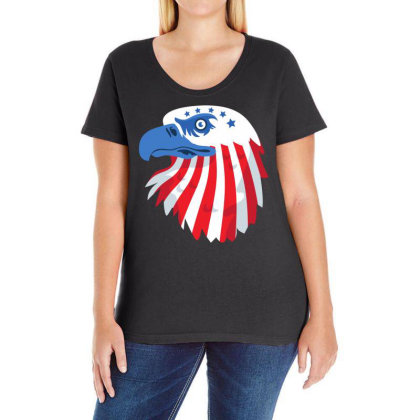 United States Eagle Ladies Curvy T-shirt Designed By Chiks