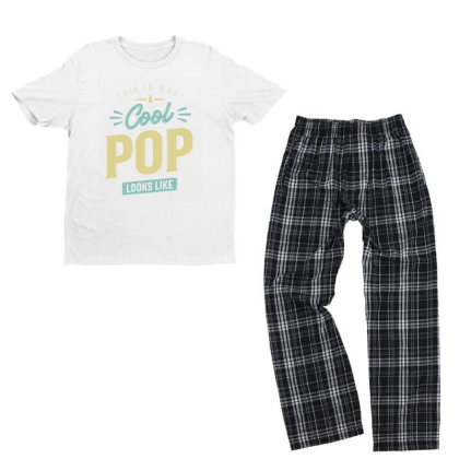 Mens Funny Fathers Day This Is What A Cool Pop Looks Like Youth T-shirt Pajama Set Designed By Cidolopez