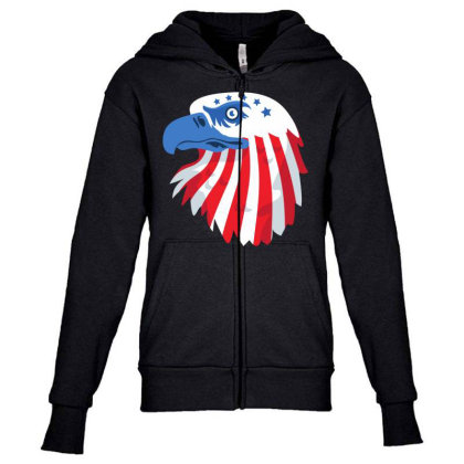 United States Eagle Youth Zipper Hoodie Designed By Chiks