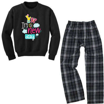 It's A New Day Youth Sweatshirt Pajama Set Designed By Gnuh79