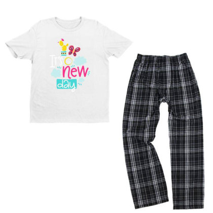 It's A New Day Youth T-shirt Pajama Set Designed By Gnuh79