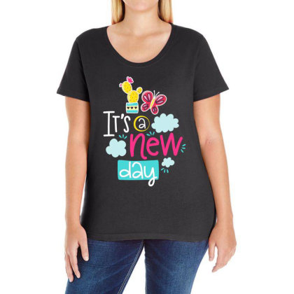 It's A New Day Ladies Curvy T-shirt Designed By Gnuh79