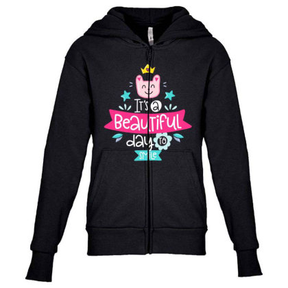 It's A Beautiful Day To Smile Youth Zipper Hoodie Designed By Gnuh79