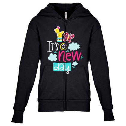 It's A New Day Youth Zipper Hoodie Designed By Gnuh79