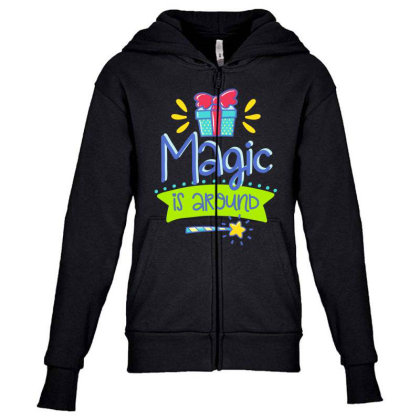 Magic Is Around Youth Zipper Hoodie Designed By Gnuh79