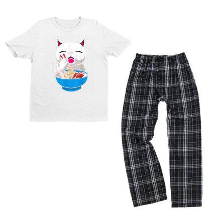 Kawaii Cute Cat Ramen Japanese Seafood Youth T-shirt Pajama Set Designed By Mrt90