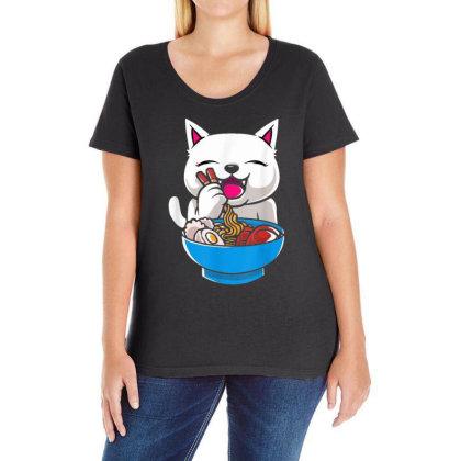 Kawaii Cute Cat Ramen Japanese Seafood Ladies Curvy T-shirt Designed By Mrt90