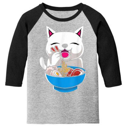 Kawaii Cute Cat Ramen Japanese Seafood Youth 3/4 Sleeve Designed By Mrt90