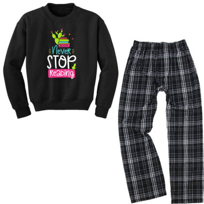 Ntver Stop Reading Book Youth Sweatshirt Pajama Set Designed By Gnuh79