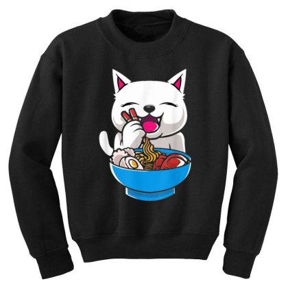 Kawaii Cute Cat Ramen Japanese Seafood Youth Sweatshirt Designed By Mrt90