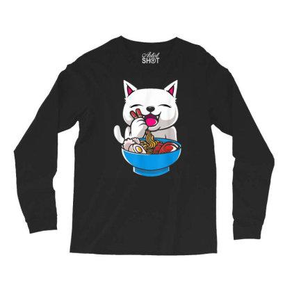 Kawaii Cute Cat Ramen Japanese Seafood Long Sleeve Shirts Designed By Mrt90