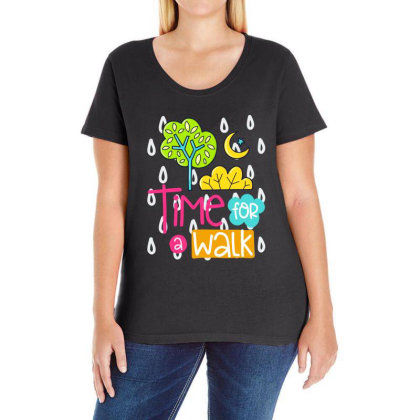 Time For A Walk Ladies Curvy T-shirt Designed By Gnuh79