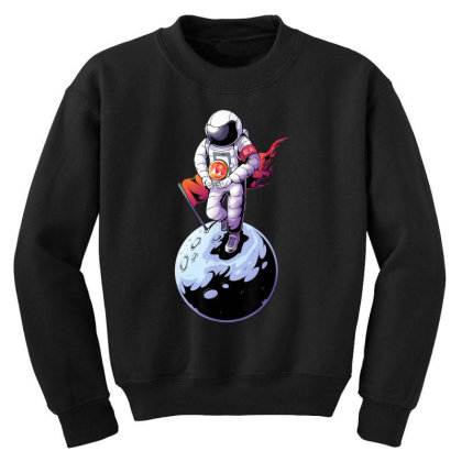 Decentraland Astronaut To The Moon   Mana Crypto Youth Sweatshirt Designed By Mrt90