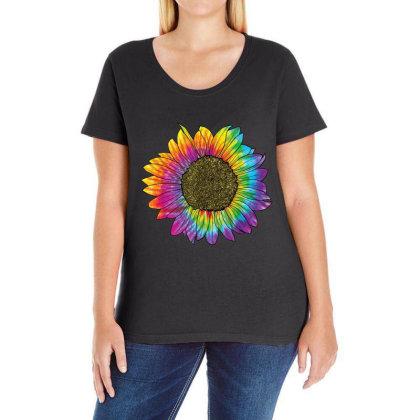 Sunflower Peace Love 60s 70s Hippie Retro Vintage Ladies Curvy T-shirt Designed By Mrt90