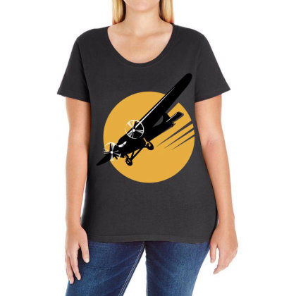 Aircraft Ladies Curvy T-shirt Designed By Chiks