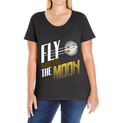 Fly Me To The Moon Ladies Curvy T-shirt Designed By Hatta1976