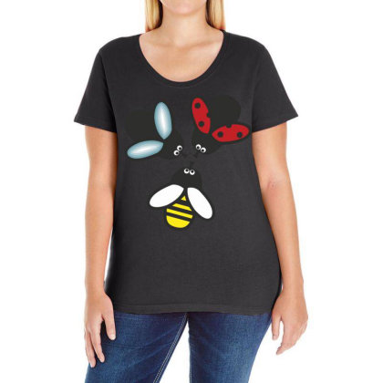 Insect Bee Ladies Curvy T-shirt Designed By Chiks