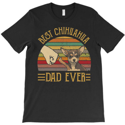 Best Chihuahua Dad Ever Retro Vintage Sunset T Shirt T-shirt Designed By Cute2580