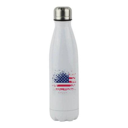 Usa Flag Splash Style Stainless Steel Water Bottle Designed By Qudkin