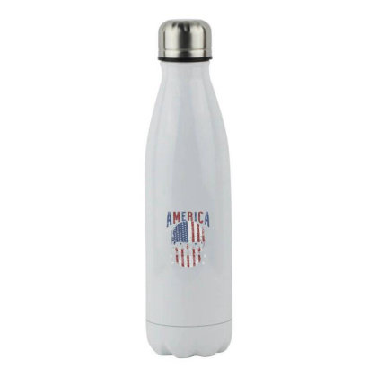America Skull Head Usa Flag Stainless Steel Water Bottle Designed By Qudkin