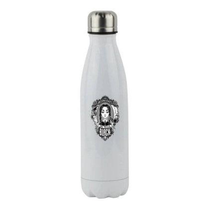 On Wednesdays We Wear Black Stainless Steel Water Bottle Designed By Hofmantrs