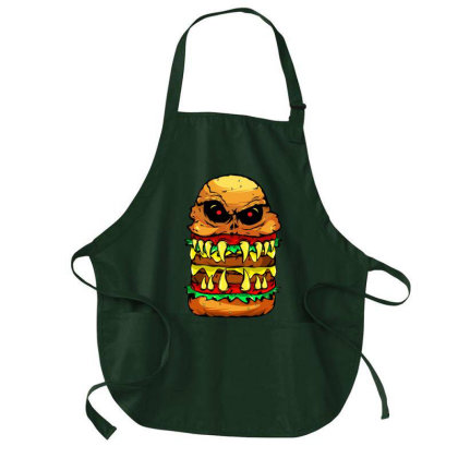 Funny Scary Cheese Burger Medium-length Apron Designed By Vnteees