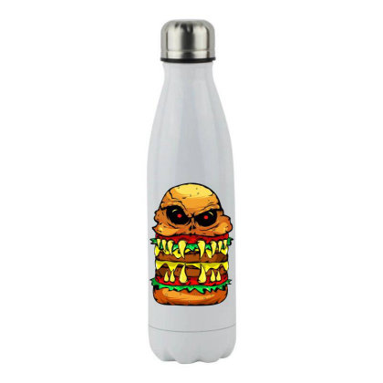 Funny Scary Cheese Burger Stainless Steel Water Bottle Designed By Vnteees