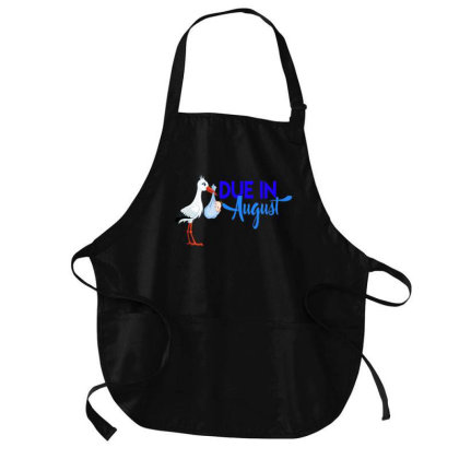 Pregnancy Shirt Due In August Bue Mom Dad Baby Pregnant Medium-length Apron Designed By Time0205
