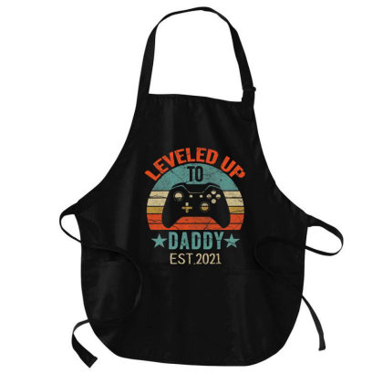 Promoted To Daddy Est 2021 Tee Vintage Men Leveled Up To Dad T Shirt Medium-length Apron Designed By Cute2580