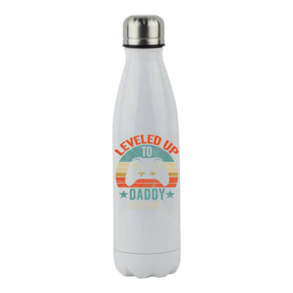 Promoted To Daddy Est 2021 Tee Vintage Men Leveled Up To Dad T Shirt Stainless Steel Water Bottle Designed By Cute2580