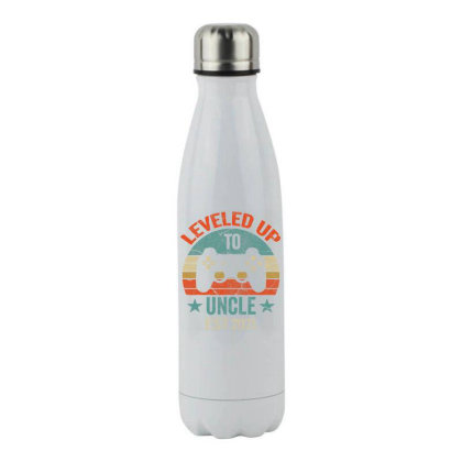 Promoted To Uncle Est. 2021 2020 Leveled Up To Daddy & Dad T Shirt Stainless Steel Water Bottle Designed By Time0205