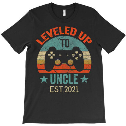 Promoted To Uncle Est. 2021 2020 Leveled Up To Daddy & Dad T Shirt T-shirt Designed By Time0205