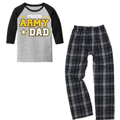 Proud A.r.m.y Dad  Us Military Dad Family Youth 3/4 Sleeve Pajama Set Designed By Cute2580
