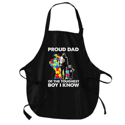 Proud Autism Dad Father And Son Autism Awareness T Shirt Medium-length Apron Designed By Cuser3143