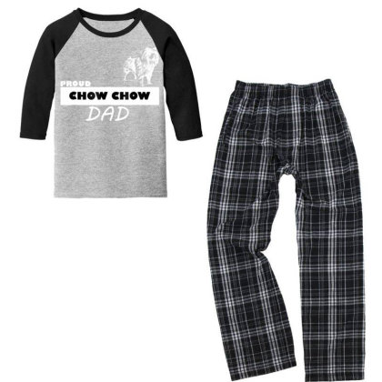 Proud  Chow Chow Dog Dad T Shirt Youth 3/4 Sleeve Pajama Set Designed By Cuser3143