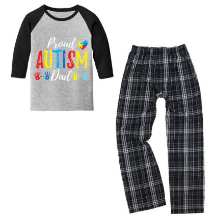 Proud Dad Autism Awareness Family Matching Shirt Youth 3/4 Sleeve Pajama Set Designed By Cuser3143