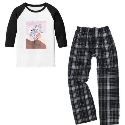Floral Love Youth 3/4 Sleeve Pajama Set Designed By Designsbymallika