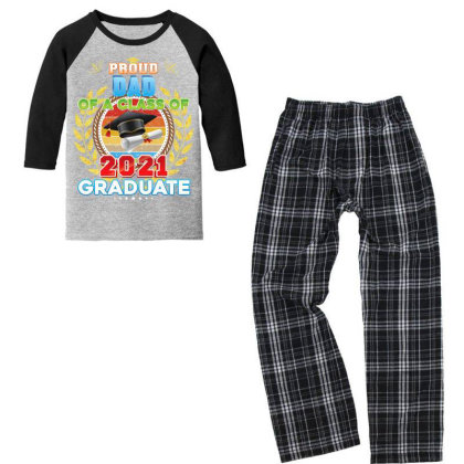 Proud Dad Of A Class Of 2021 Graduate Graduation School High T Shirt Youth 3/4 Sleeve Pajama Set Designed By Good0396