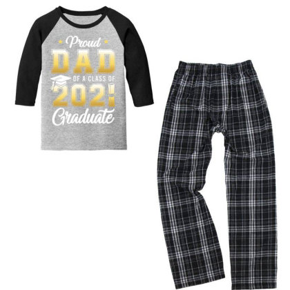 Proud Dad Of A Class Of 2021 Graduate School T Shirt Youth 3/4 Sleeve Pajama Set Designed By Cuser3143