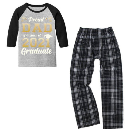 Proud Dad Of A Class Of 2021 Graduate Senior 2021 Gift T Shirt Youth 3/4 Sleeve Pajama Set Designed By Good0396