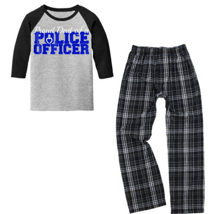 Proud Dad Of A Police Officer Father's Day Novelty T Shirt Youth 3/4 Sleeve Pajama Set Designed By Cuser3143