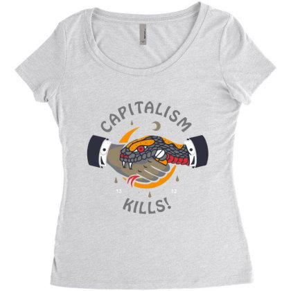Capitalism Kill Women's Triblend Scoop T-shirt Designed By Hatta1976