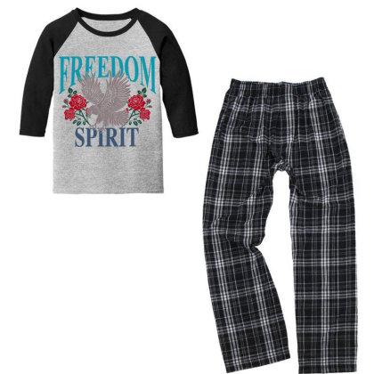 Eagle Roses Freedom Spirit Youth 3/4 Sleeve Pajama Set Designed By Hatta1976