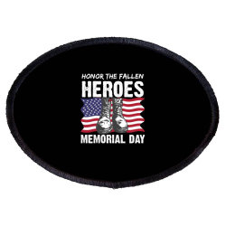 Honor The Fallen Memorial Day Usa American Flag Military May 25th Gift Oval Patch Designed By Mizanrahmanmiraz