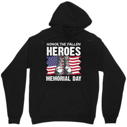 Honor The Fallen Memorial Day Usa American Flag Military May 25th Gift Unisex Hoodie Designed By Mizanrahmanmiraz