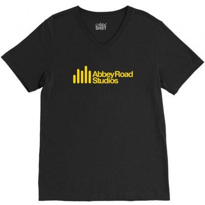 Abbey Road Studios Main Logo V-neck Tee Designed By Mdk Art