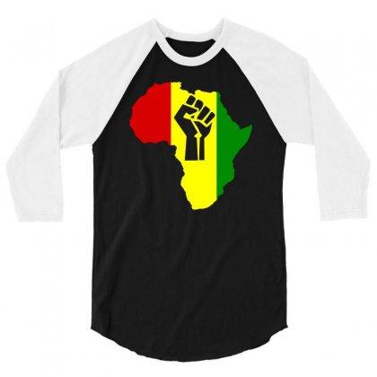 Africa Power Rasta Reggae Music 3/4 Sleeve Shirt Designed By Mdk Art