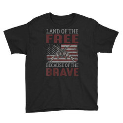 Land Of The Free Because Of The Brave Memorial Day Youth Tee Designed By Koopshawneen