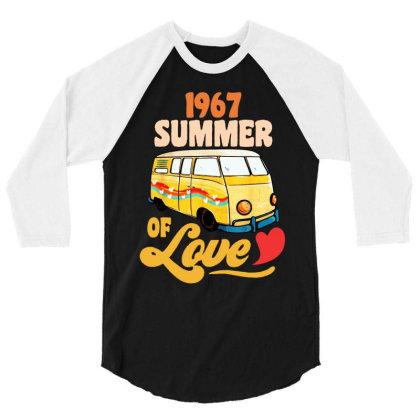 1967 Summer Of Love Vintage 3/4 Sleeve Shirt Designed By Dongdot Apparel